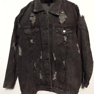 Ripped Oversized Grey Jean Jacket